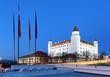 Bratislava castle from parliament at twilight - Slovakia