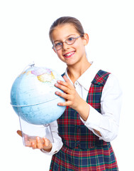 Schoolgirl with a globe