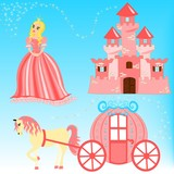 Fairytale cartoon illustration set