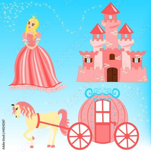 Papiers peints Chateau Fairytale cartoon illustration set