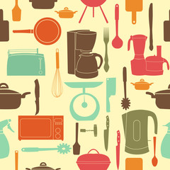 vector illustration seamless pattern of kitchen tools for cookin