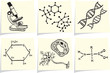 Biology and chemistry icons on yellow memo sticks