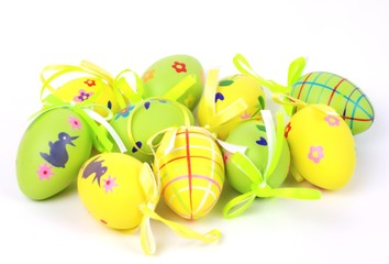 Yellow and green colored easter eggs