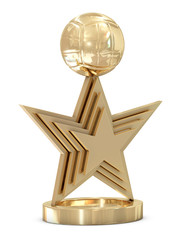 Golden volleyball trophy with multiple stars and ball