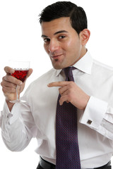 Man recommending wine