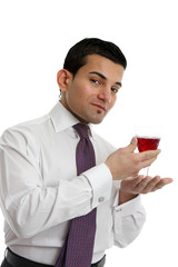 Man presenting a glass of wine