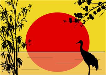 crane in bamboo on yellow