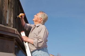 Senior beim streichen auf Leiter