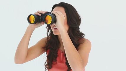 Girl using her binoculers