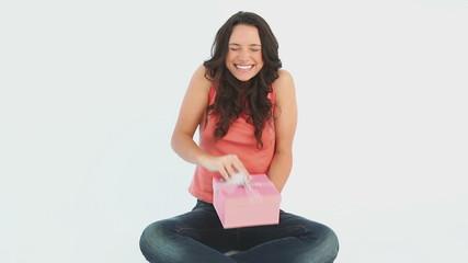 Girl opens her gift