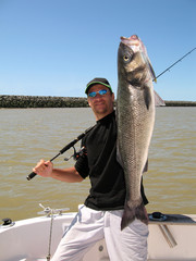Happy  fisherman holding a sea bass