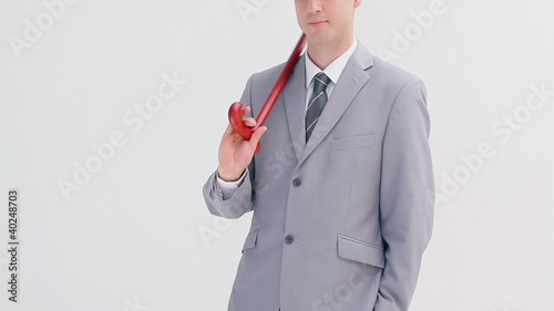 Businessman using a cane