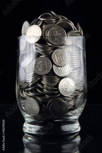 coins in glass