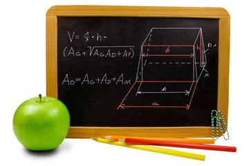 Schultafel mit Apfel