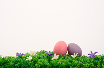 Two easter eggs on white background