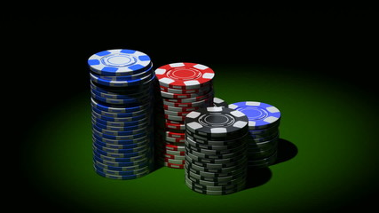 Gambling chips in piles. Rotation loop