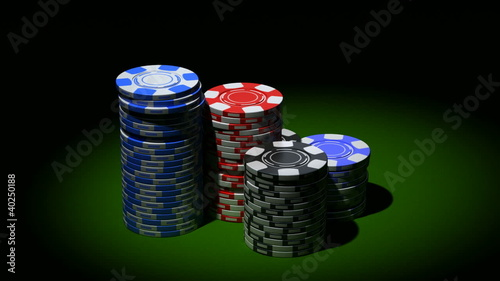 Gambling chips in piles. Rotation loop