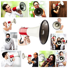 group of people with megaphone