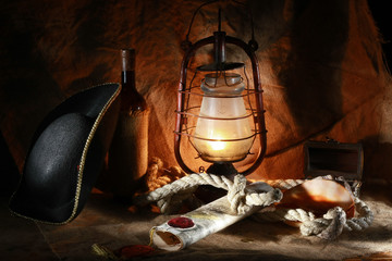 Pirate of the still life of wine, hats, ropes, sinks, fixtures,