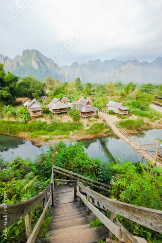 The wooden bridge to the huts, Vang Vieng, Laos