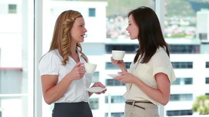 Businesswomen drinking coffee together