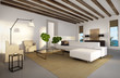 Luxury mediterranean beach house interior, chic  elegant