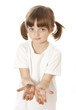 little girl preschooler with dirty hand - hygiene concept