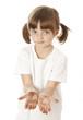 little girl preschooler with dirty hand - hygiene concept
