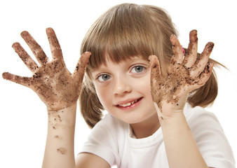happy little girl with dirty hand - hygiene concept