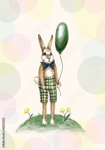 Greeting card with a rabbit