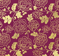 water lilies, floral pattern, textile design, royal India