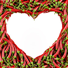 Heart made of Chili Pepper.3D High-quality rendering