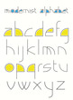 alphabet made of simple shapes in a modernistic style.