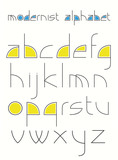 alphabet made of simple shapes in a modernistic style. poster