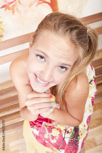 smiling beautiful girl isolated on a white