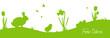 Frohe Ostern mit Osterhase, Küken und Blumen