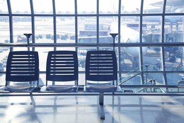 Row of empty chairs at Suvarnabhumi Airport,Thailand