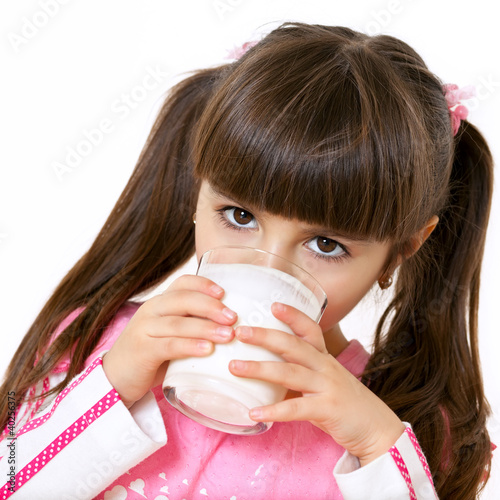 canvas print picture Girl drinks milk