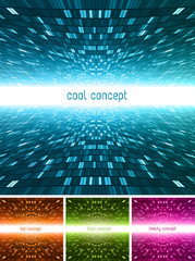 4 different concepts futuristic & perspective space backgrounds