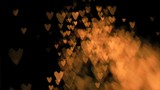 Heart-shaped sparks flying in super slow motion