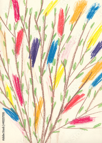 Child's drawing - Easter twigs with colourful feathers