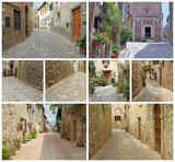 collage of picturesque old streets in italian small towns