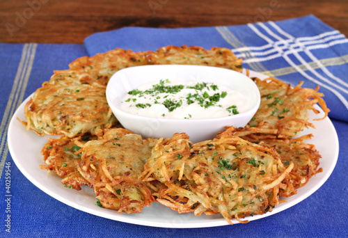 German Potato Pancakes and Sour Cream