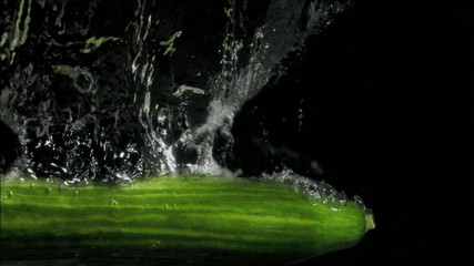 Cucumber in super slow motion falling