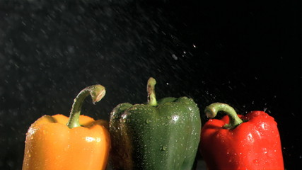 Colorful peppers in super slow motion being wet