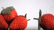Strawberries in super slow motion receiving drops