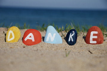 danke, german thank you on pebbles