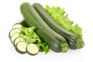 Zucchini on white, clipping path included