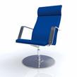 3D Designer Chefsessel Silber Blau