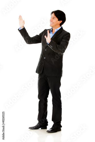 Businessman touching with hands